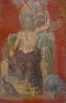 220px-Zeus_pompeiJupiter in a wall painting from Pompeii, with eagle and globe