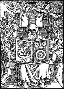 A woodcut of Hermes Trismegistus from De chemica Senioris ~ 1566