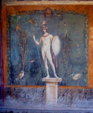 Mural_warrior (1)Nude statue of Mars[44] in a garden setting, as depicted on a wall painting from Pompeii