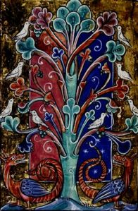tree with doves and dragons- MS
