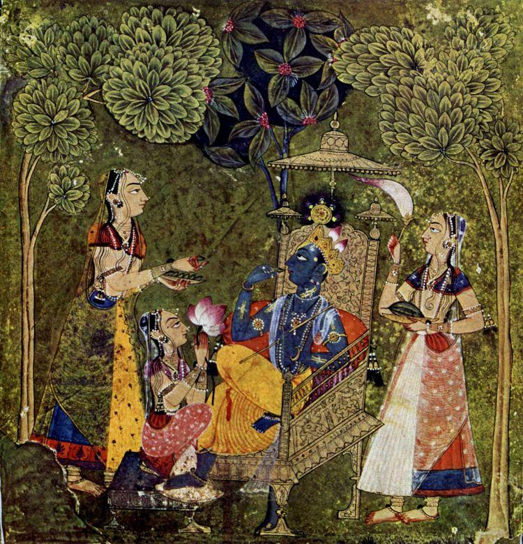 The Hindu god Krishna Surrounded by Ladies - British Museum