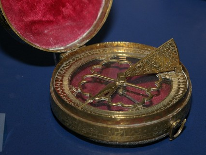 This beautiful compass is a few hundred years old. It is a part of Middle East exhibition in Victoria and Albert Museum, London.