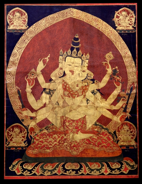 17th C. Central Tibeten Thanka o Guhyasamaja Akshobhyavajra Rubin Museum of Art : Divine Duality in the Vesica Pisces