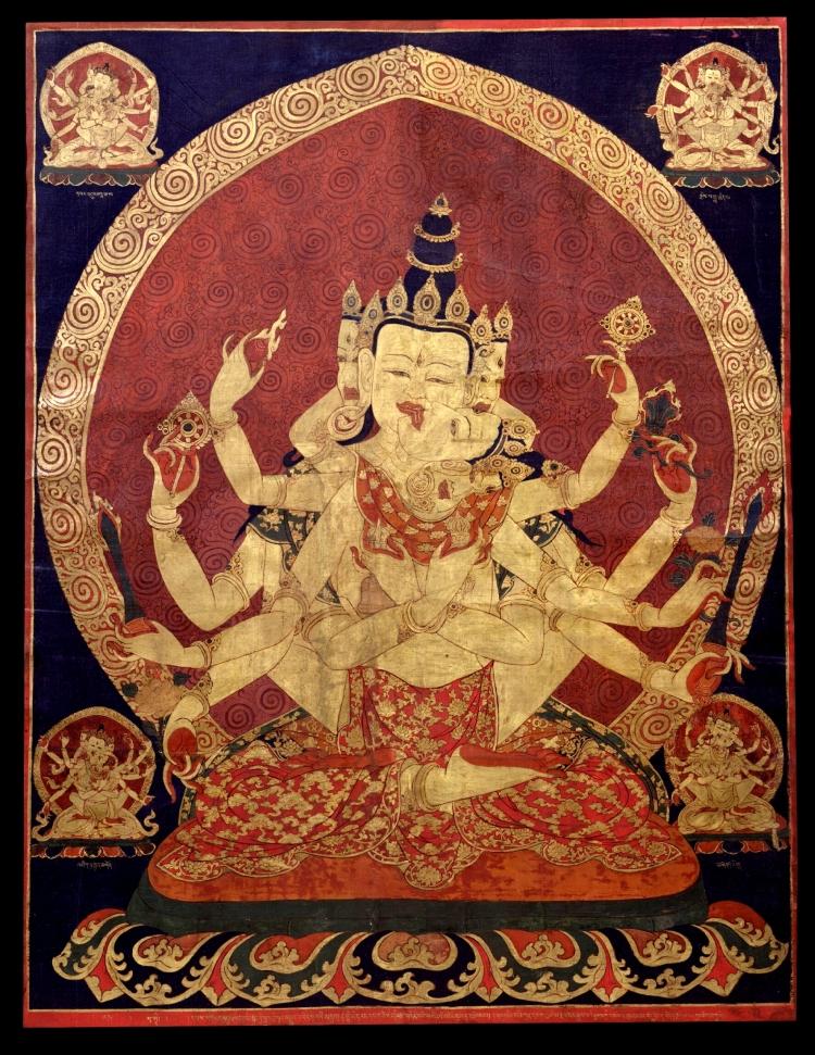 17th C. Central Tibeten Thanka o Guhyasamaja Akshobhyavajra Rubin Museum of Art : Divine Duality in the Vesica Pisces