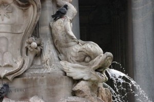 Detail, fish, fountain Piazza Navone, Rome Italy