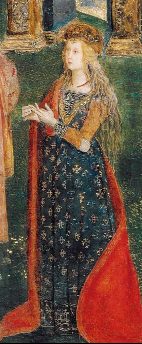Lucretia_Borgia_PinturicchioLucrecia as St. Catherine of Alexandria in a fresco by Pinturicchio, in the Sala dei Santi the Borgia apartments in the Vatican c. 1494.