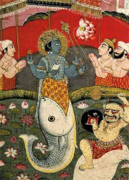 Vishnu as Matsya Returning the Vedas to Brahma