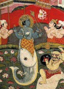 Vishnu as Matsya Returning the Vedas to Brahma