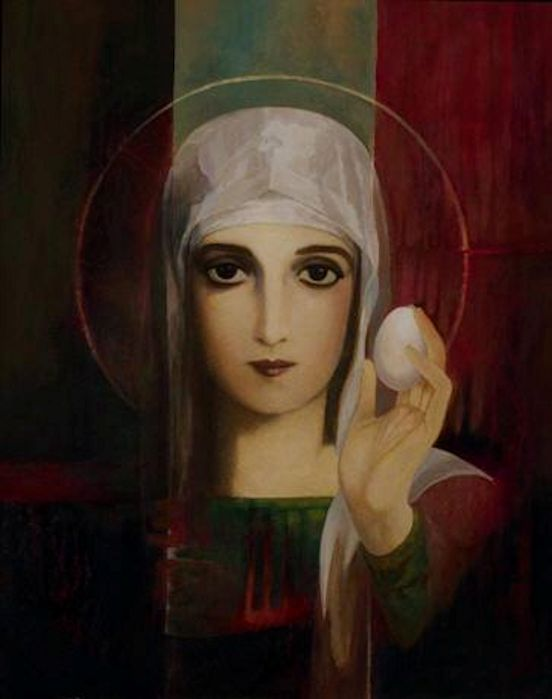 Mary Magdalene, Apostle of Christ, holds the first Mystic Egg, the Easter Egg, by means of Jesus Christ, representing the new MAN, the Son of MAN.