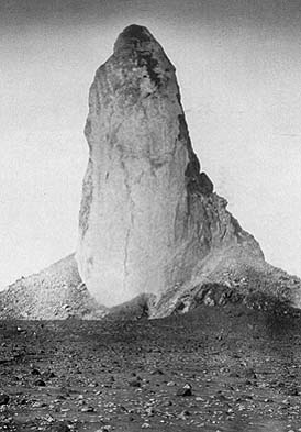 Spire of felsic lava  generated in the waning stages of the 1902 eruption of Mt. Pelée. From Lacroix, A., 1904, La Montagne Pelee et ses eruptions: Paris, Masson et Cie, 622 p.