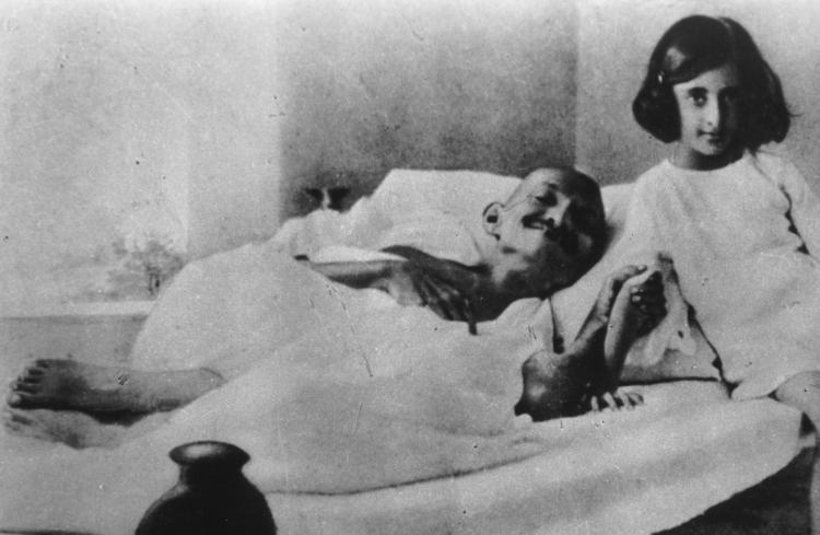 Mahatma Ghandi and Indira - 1924