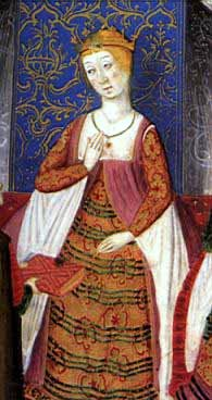 Isabel_de_castillaIsabella in the Rimado de la Conquista de Granada, from 1482, by Pedro Marcuello