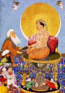 Bichitr - Jahangir Preferring a Sufi Sheikh to Kings, with James I lower left