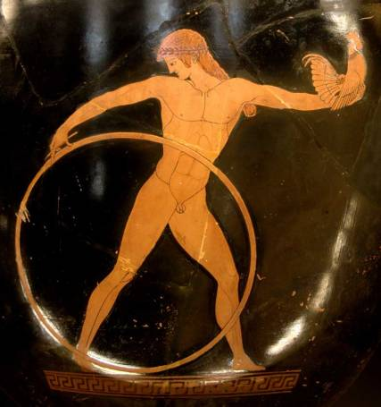 Ganymede rolling a hoop and bearing aloft a cockerel - a love gift from Zeus (in pursuit, on obverse of vase). Attic red-figure crater, 500-490 BC; Louvre, Paris)