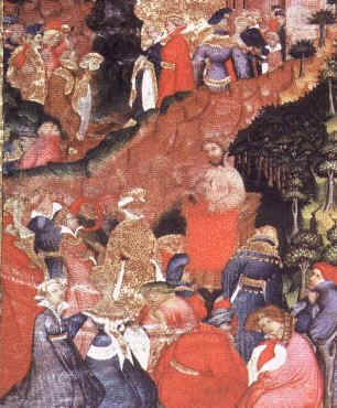Chaucer reading to a gathered crowd