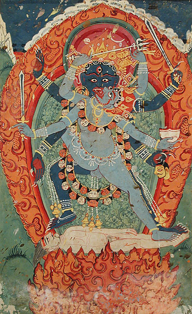 Kali and Bhairava - terrible form of Shiva -  in_Union 18th C. Nepal