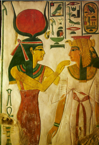 Hathor-and-IsisHathor (Red Disk & Horns) and Isis
