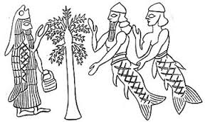 Sumerian image, we see both mer-people and priests dressed in fish-skin capes at the sacred tree