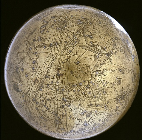 Islamic_Celestial_Globe_01Muhammad Salih Tahtawi of Sindh headed the task of creating a massive, seamless celestial globe 1631
