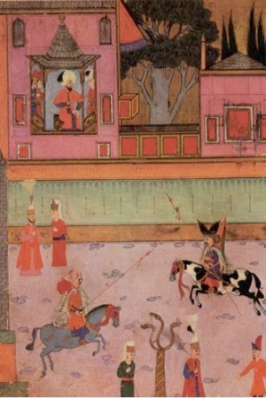Miniature painting of a parade of two riding Gazi - Veterans from Rumelia - in front of Sultan Murat III from the Surname i hümayun 16th century CE
