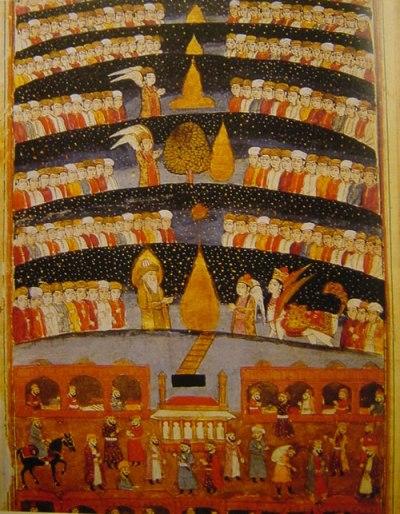 Muhammad-208Muhammad travels the seven heavens on Buraq
