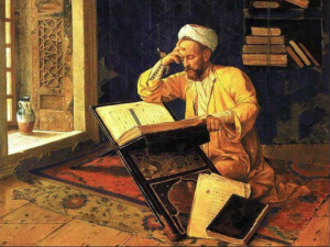 Arab scholar working diligently in the House of Wisdom. (Artist Unknown).