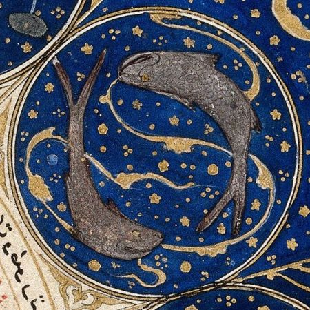 Pisces in the horoscope of Timurid Prince Iskandar, islamic miniature, 1411, Iran - Wellcome Library, London