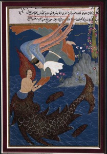 Turkey - 16th century manuscript - The whale ejecting Prophet Jonah. Ottoman miniature, end of 16th century